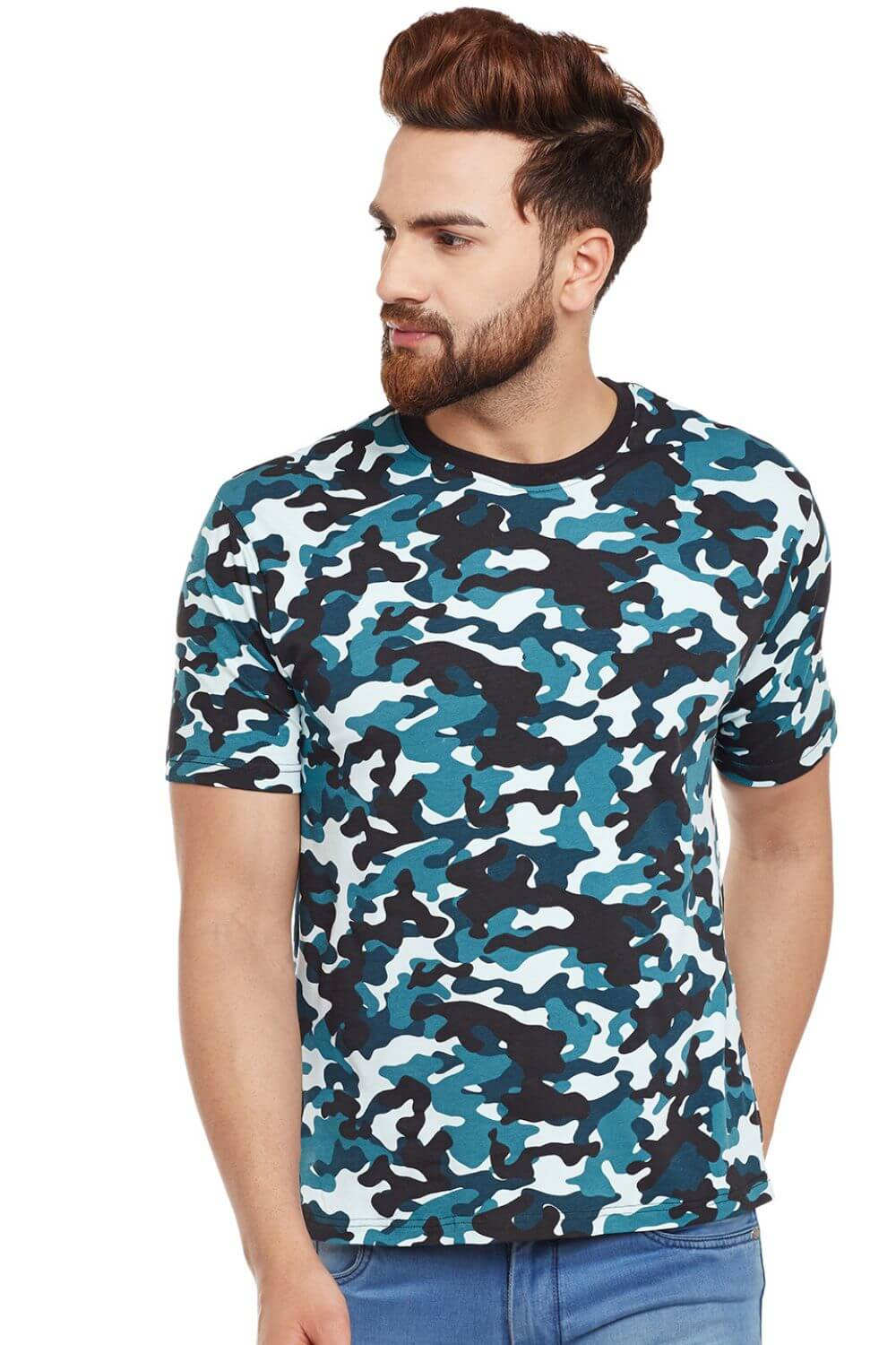 Visavi men camouflage t-shirt - teal & black