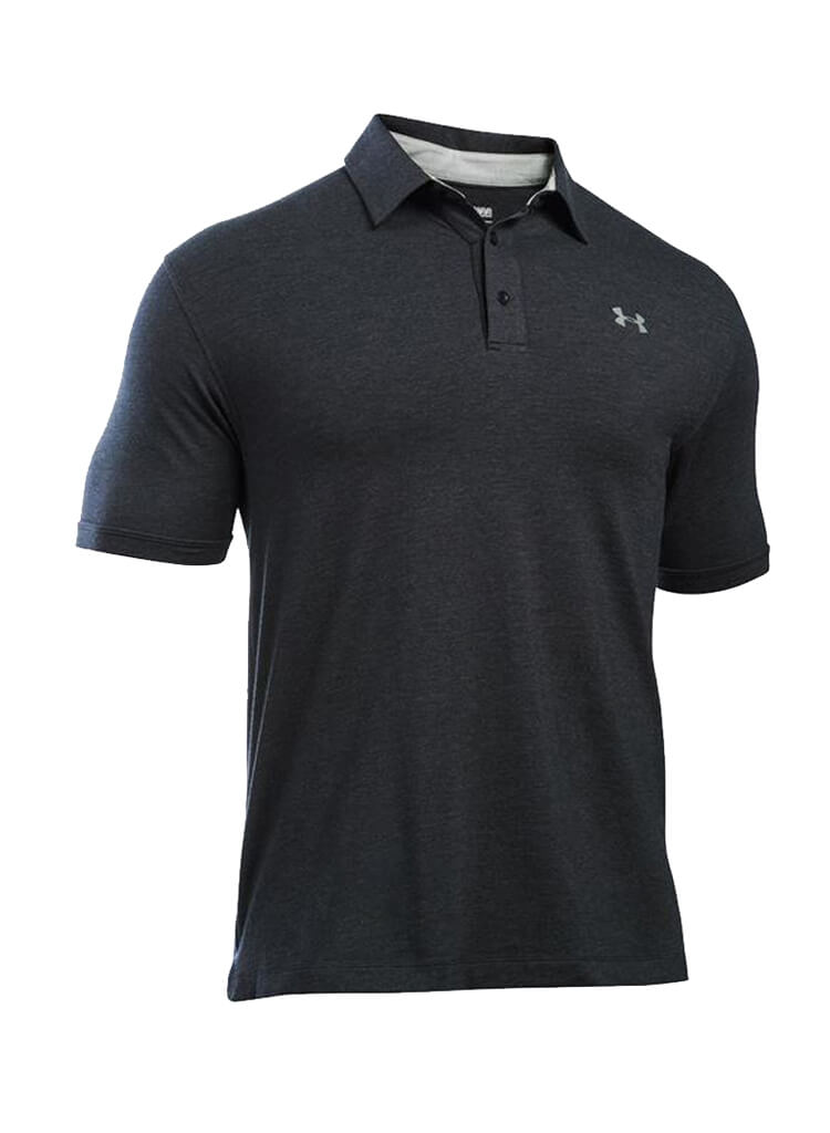 Under armour black polo t shirts for men