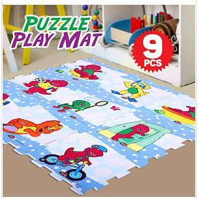 Barney & Friend Design EVA Puzzle Play Mat 9 Pcs_2