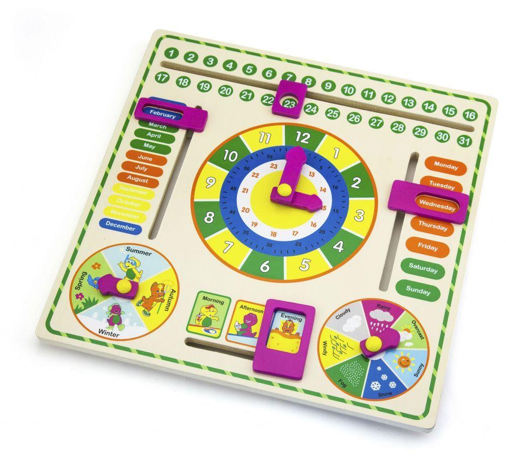 Barney wooden calendar clock 3  ages (muj832)