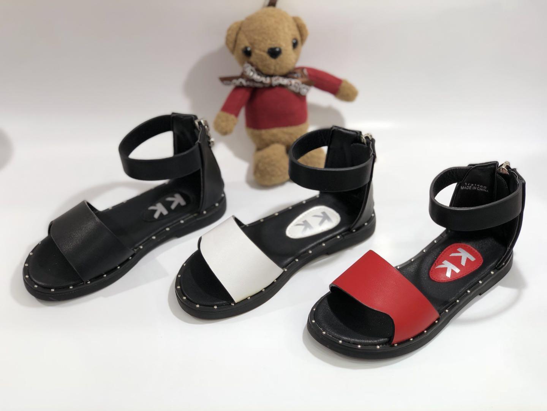Kk kids leather sandals girl shoes children footwear fashion summer flat shoes sku173148s