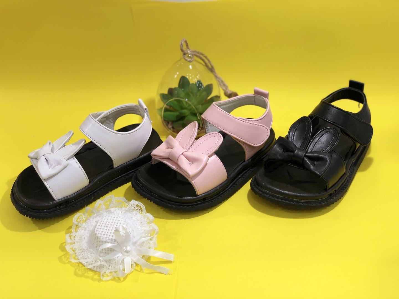 Kk kids bunny leather sandals girl shoes children footwear fashion summer flat shoes sku173212s