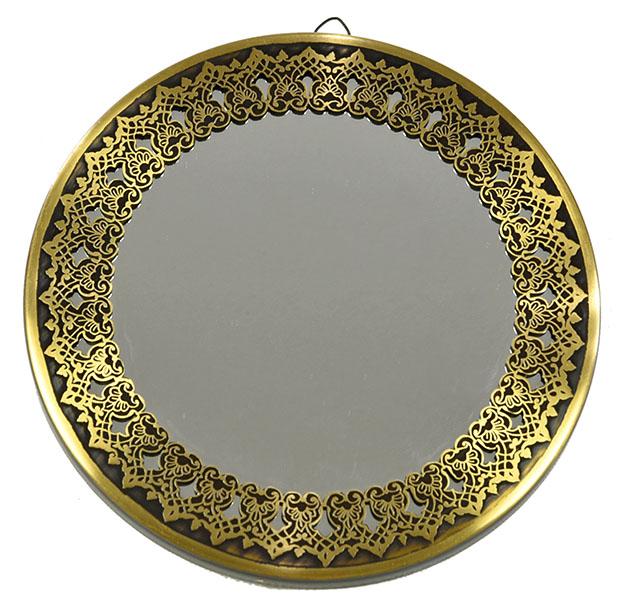 Fully handmade copper mirror (m)-2 30 cm