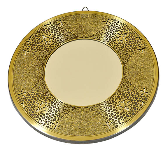Fully handmade copper mirror (l) 35 cm