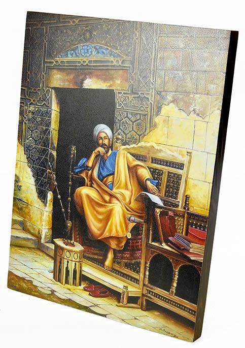 Fully handmade painting made of wood orientalist paintings-4 42*30 cm
