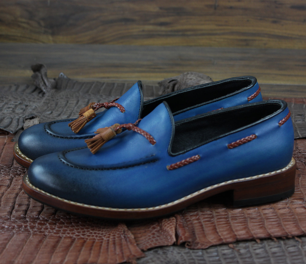 Men goodyear slip on loafers shoes genuine leather_3