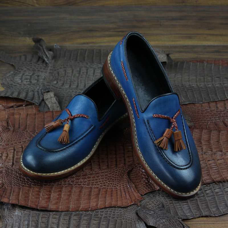 Men goodyear slip on loafers shoes genuine leather_4