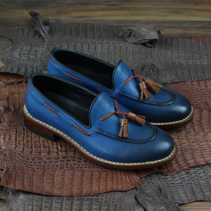 Men goodyear slip on loafers shoes genuine leather_5