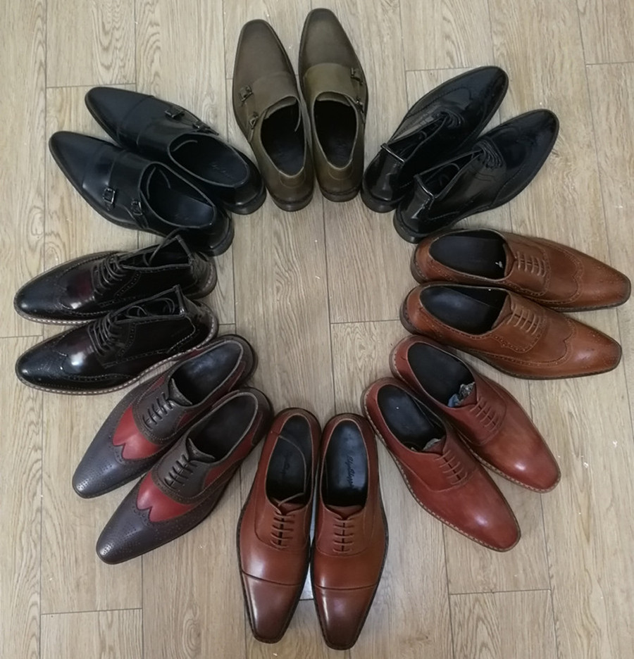 Handmade genuine leather goodyear shoes for men wedding_5