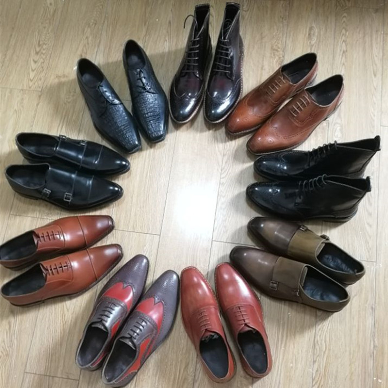 Handmade genuine leather goodyear shoes for men wedding_2