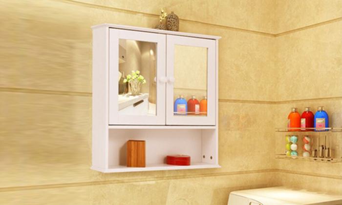 Fd-bc-460757 - bathroom wall cabinet double mirror door cupboard storage wood shelf