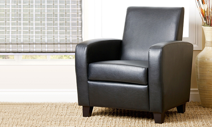 Mercer black bonded leather club chair