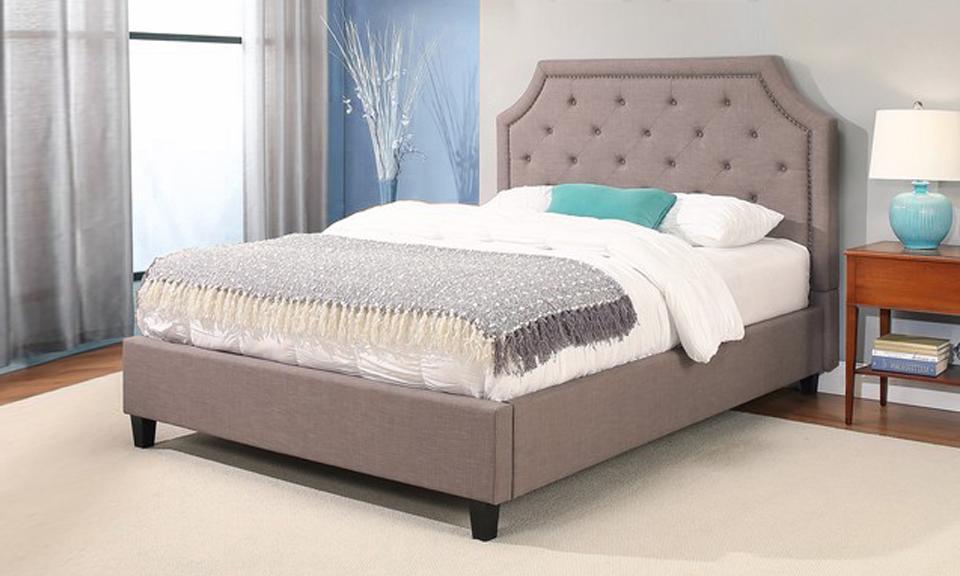 Sierra nailhead-trim upholstery platform bed