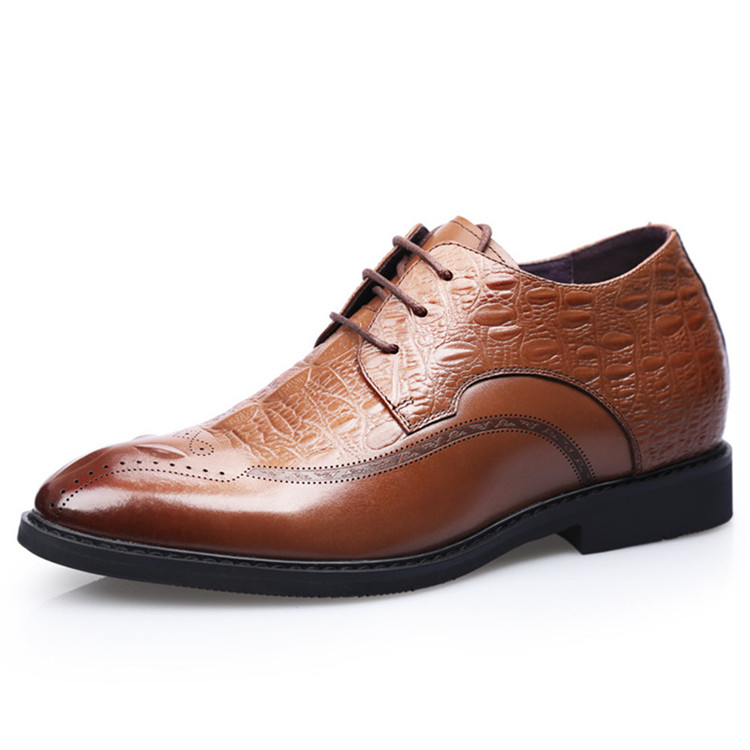 Men height increasing elevator dress derby shoes taller 7 cm elevator leather shoes