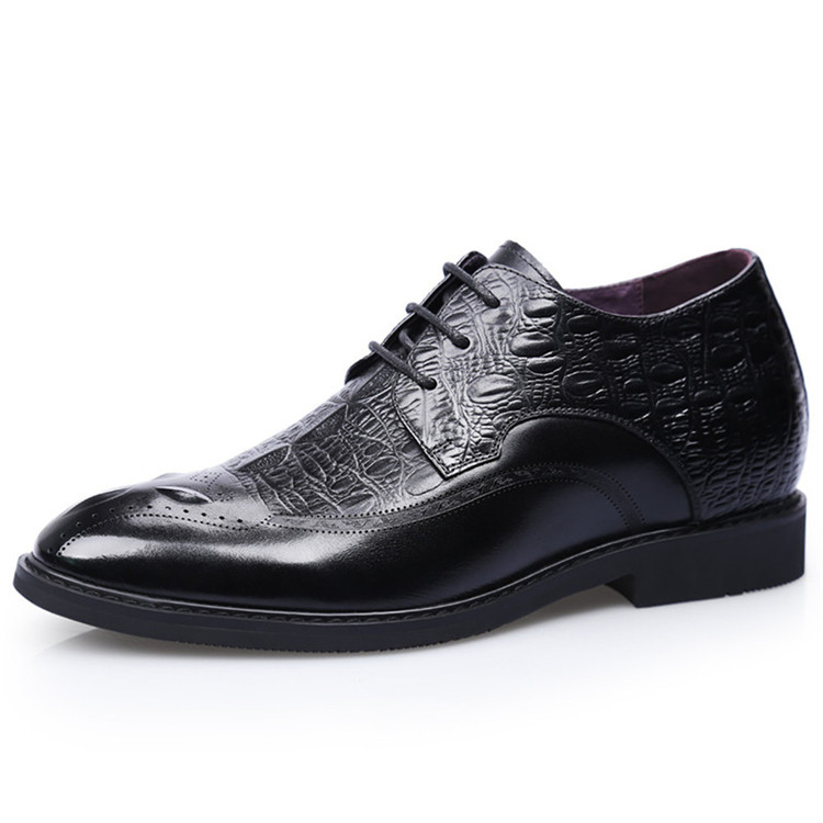 Men height increasing elevator dress derby shoes taller 7 cm elevator leather shoes_3