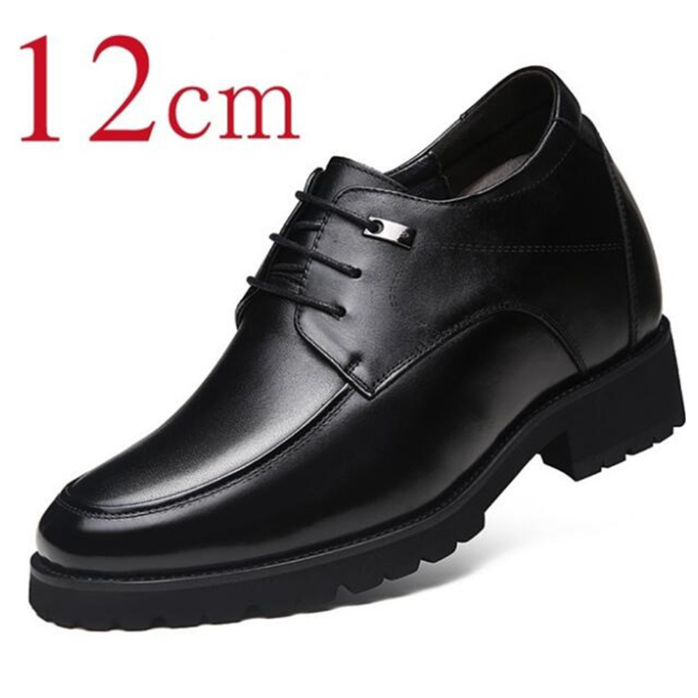 Men genuine leather derby dress shoes height increased 12 cm