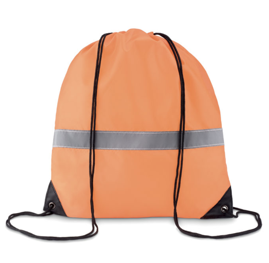 Drawstring bag in 190T polyester with reflective stripe.