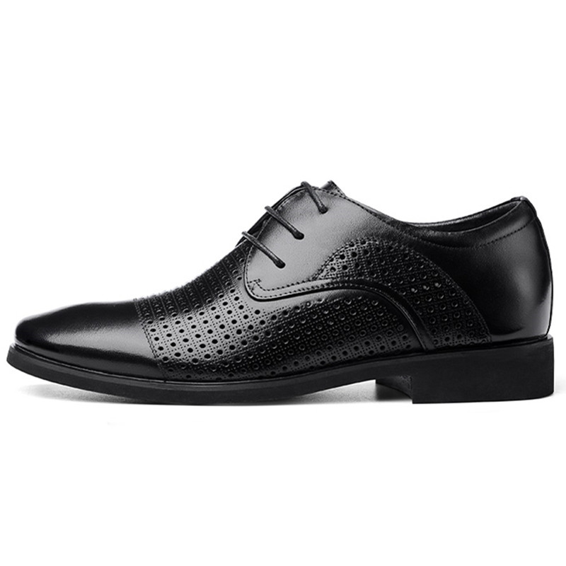Summer hollow breathable genuine leather men's formal dress shoes with hidden elevator lift insole height increasing 6 cm