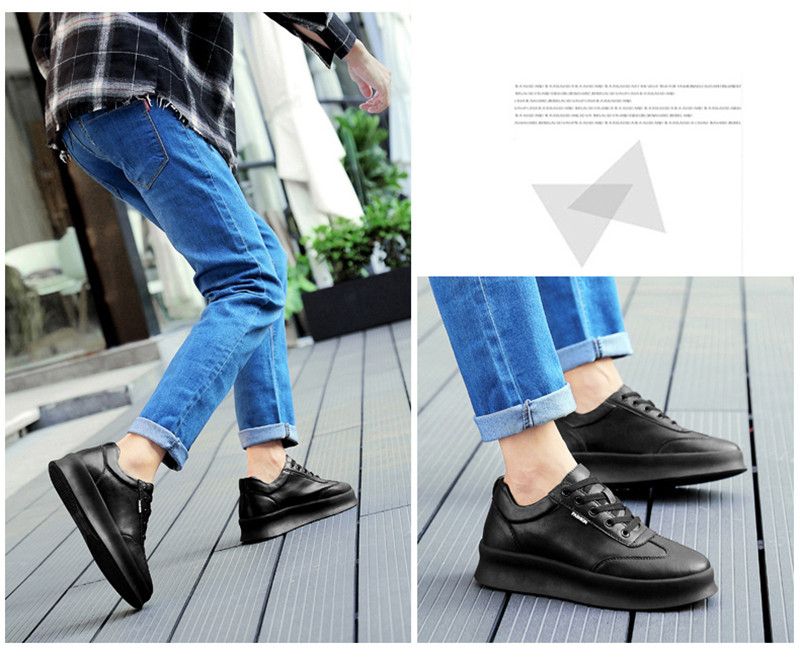 Men height increasing elevator casual leather shoes_3
