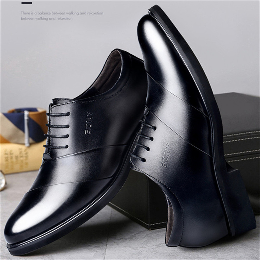 Men oxfords leather shoes height increasing elevator dress shoes for wedding_5