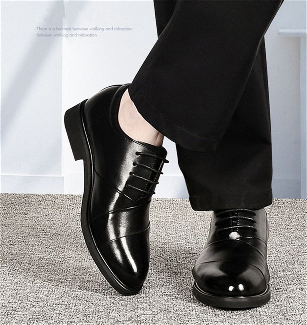 Men oxfords leather shoes height increasing elevator dress shoes for wedding_3
