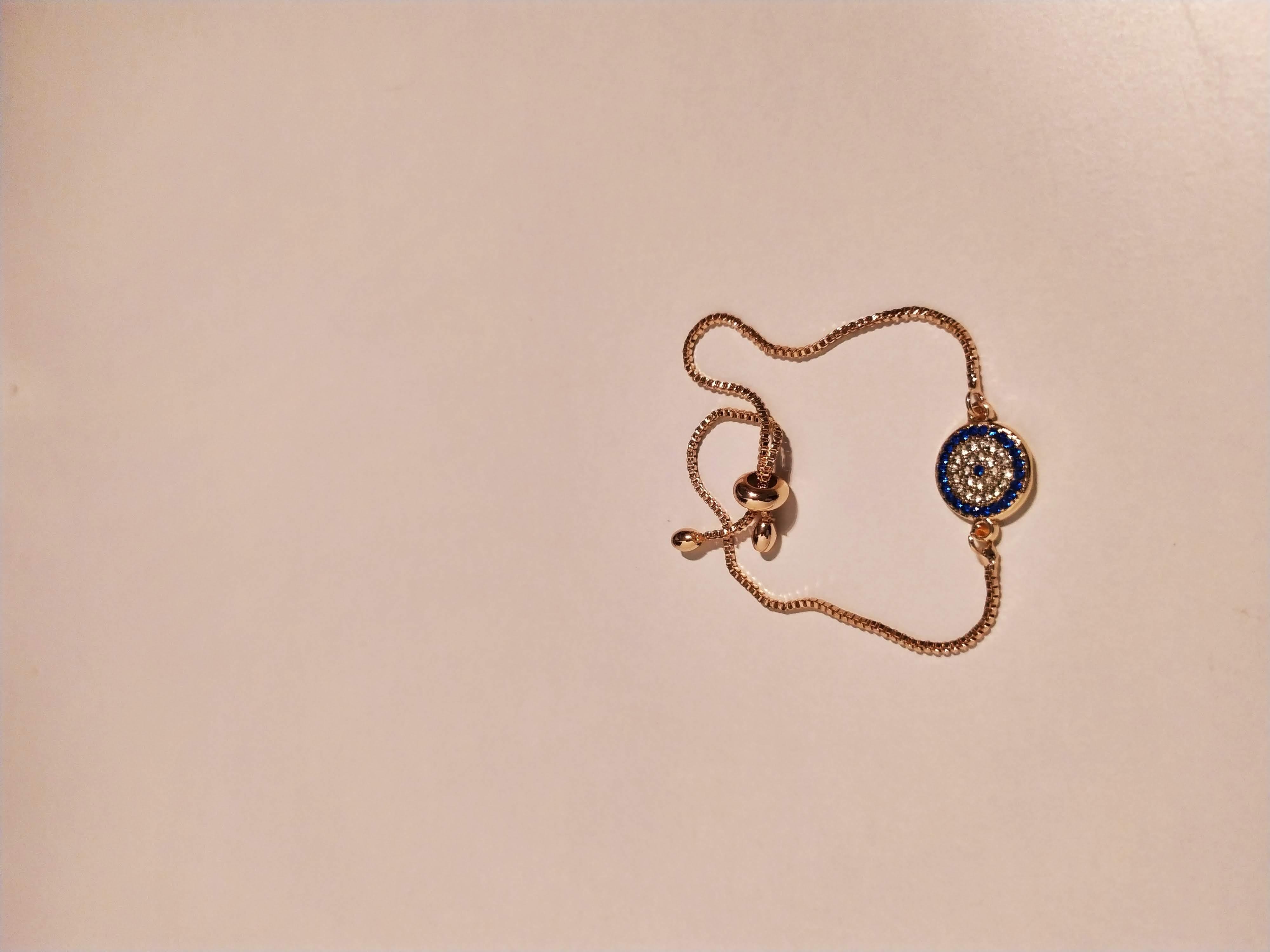 حجر الزيركون ، مطلي بالذهب ، غير مسبوق ، سوار أسود / Zircon Stone, Gold Plated, Non Allergic, Bracelet_14