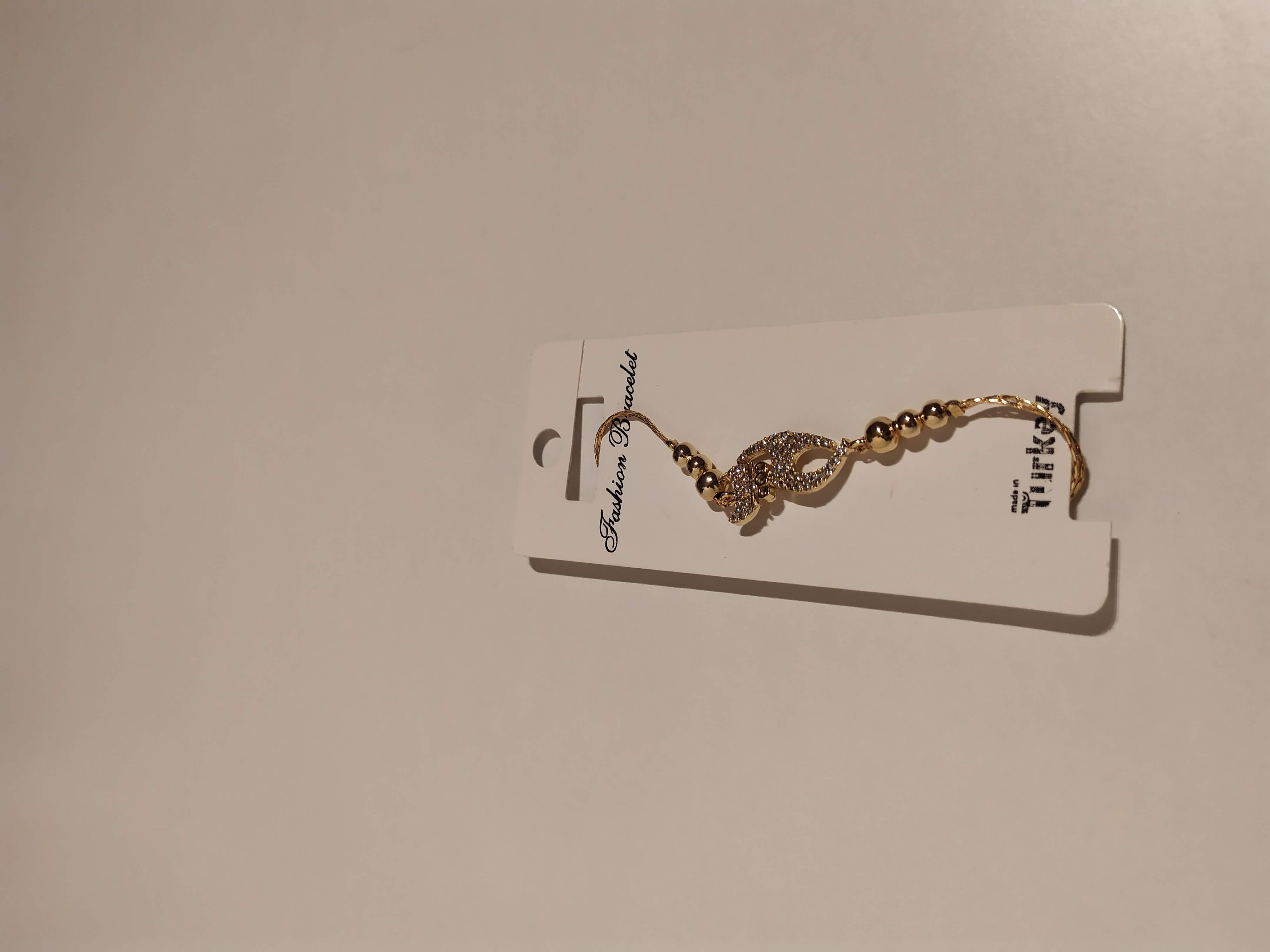 حجر الزيركون ، مطلي بالذهب ، غير مسبوق ، سوار أسود / Zircon Stone, Gold Plated, Non Allergic, Bracelet_8