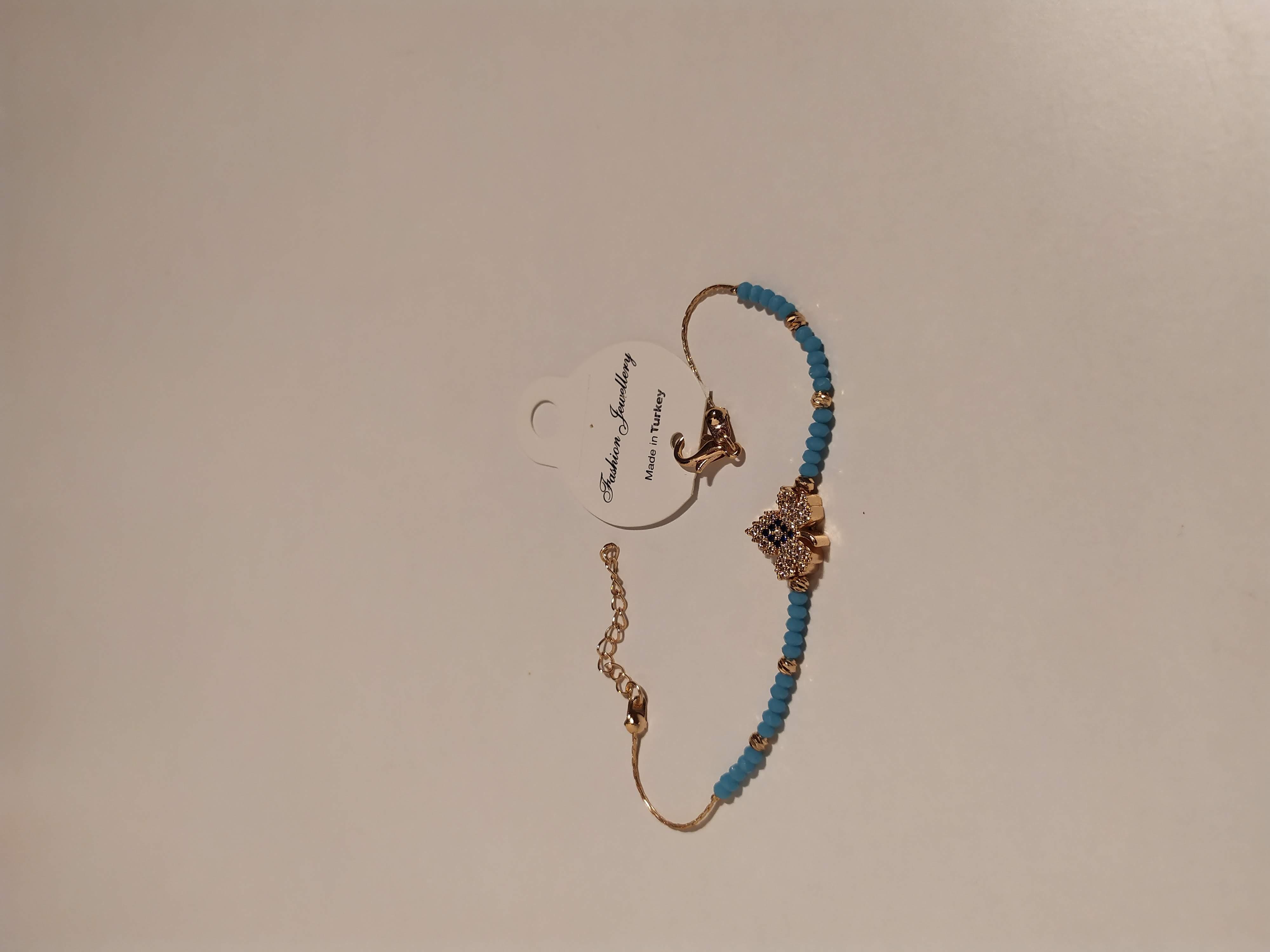 حجر الزيركون ، مطلي بالذهب ، غير مسبوق ، سوار أسود / Zircon Stone, Gold Plated, Non Allergic, Bracelet_3