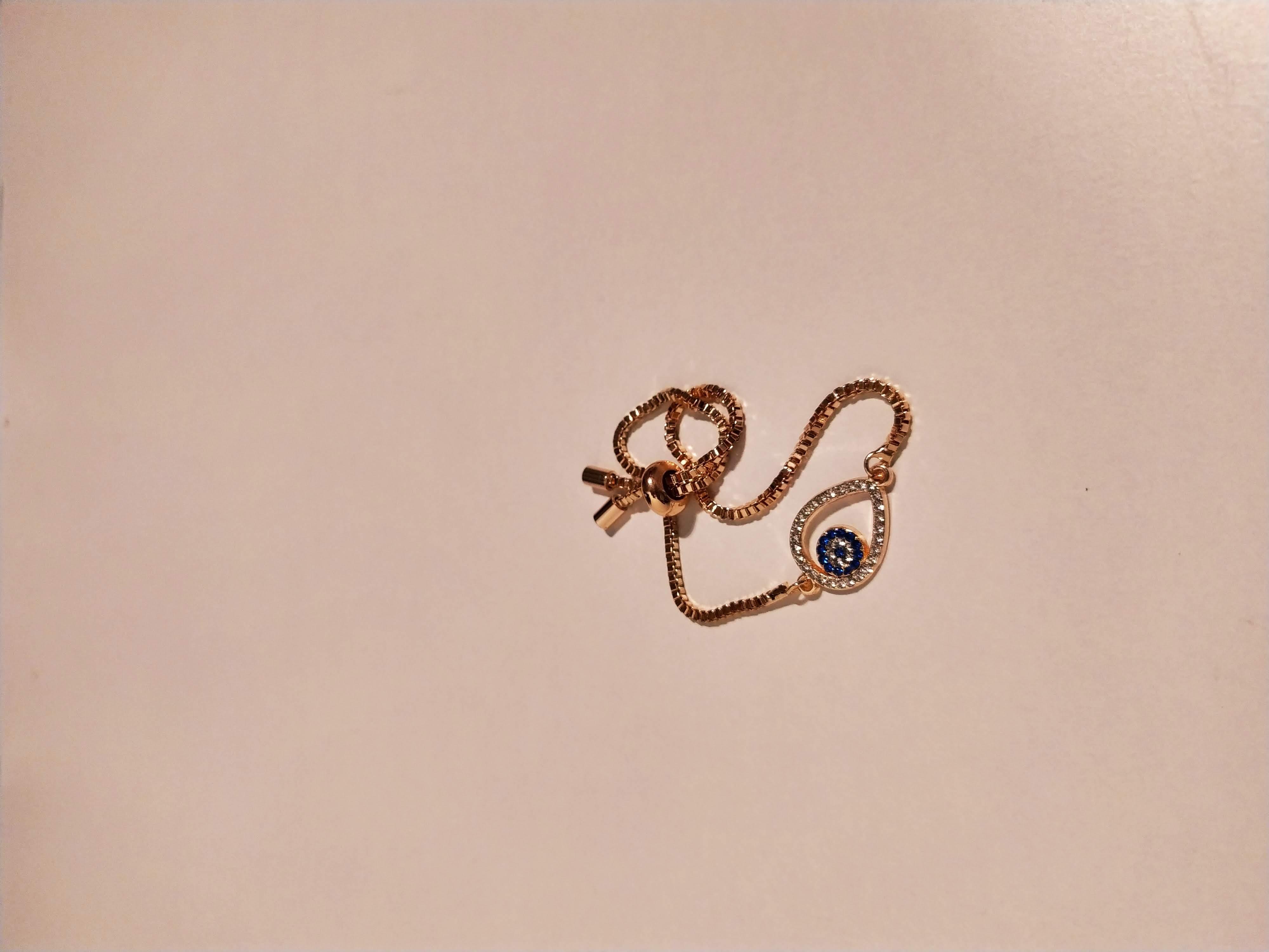 حجر الزيركون ، مطلي بالذهب ، غير مسبوق ، سوار أسود / Zircon Stone, Gold Plated, Non Allergic, Bracelet_11
