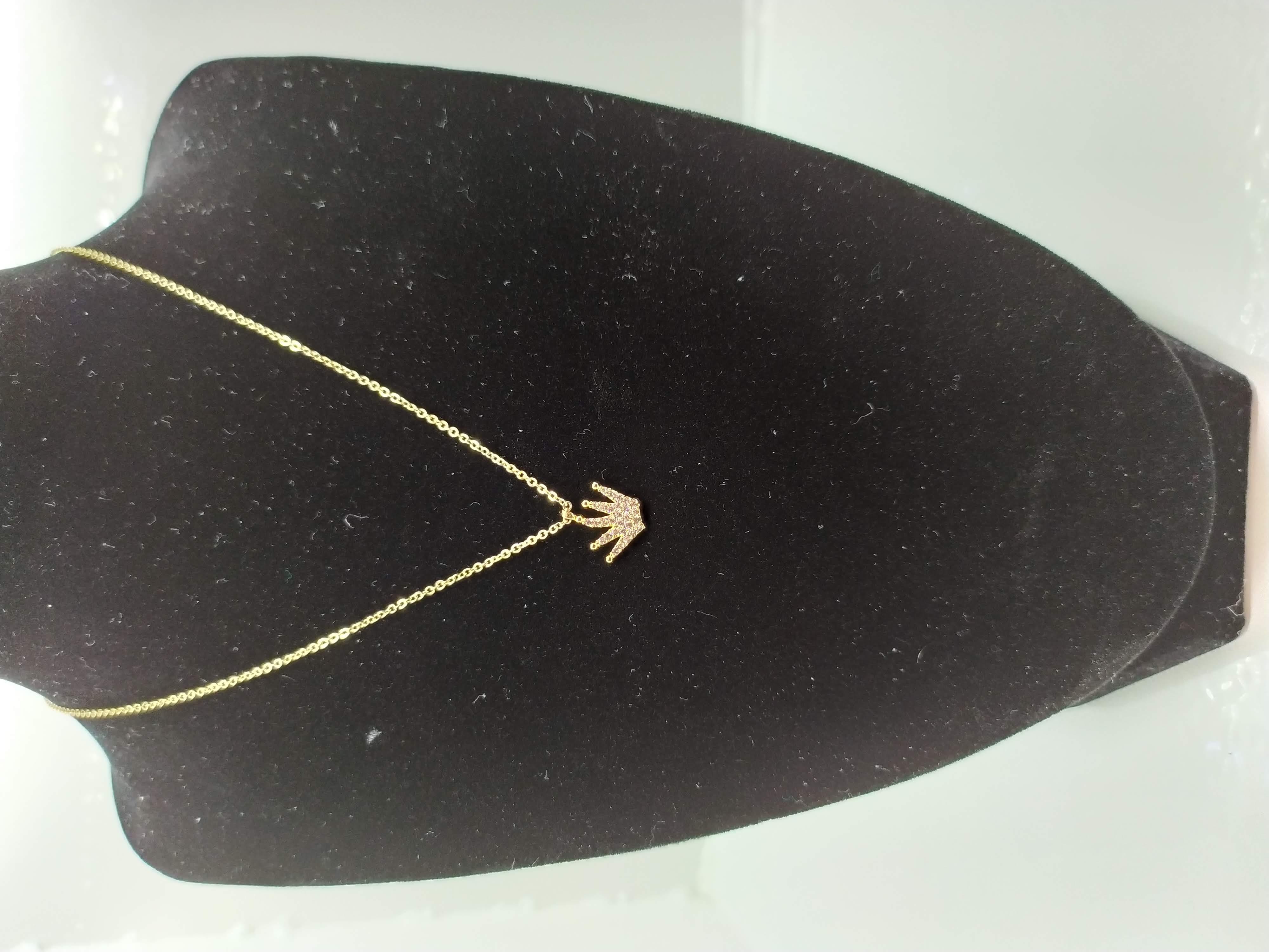 قلادة مطلية بالذهب مع الزركون الممتاز. لا يسبب الحساسية ، لا تغميق / Gold plated necklace with premium zircon. does not cause allergies, does not darken_22