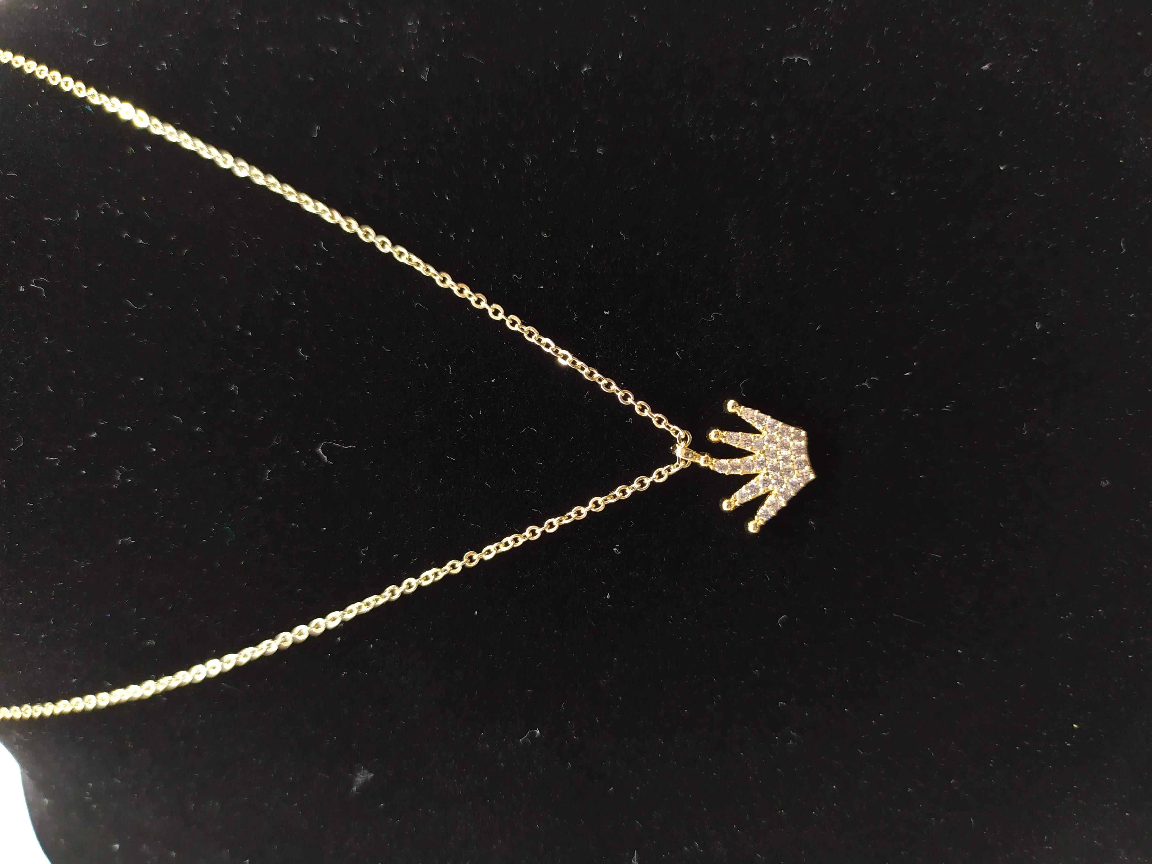 قلادة مطلية بالذهب مع الزركون الممتاز. لا يسبب الحساسية ، لا تغميق / Gold plated necklace with premium zircon. does not cause allergies, does not darken_21