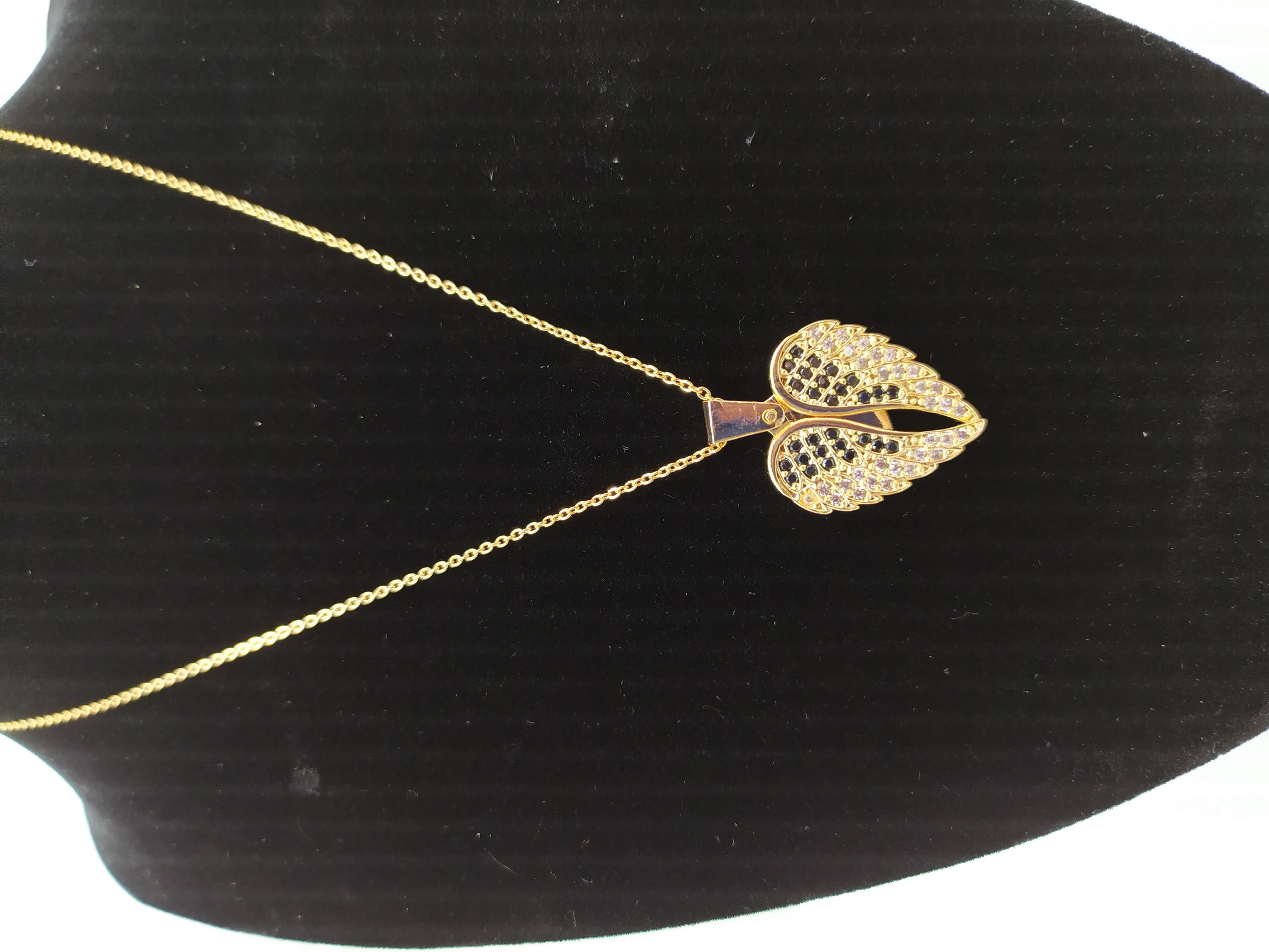 قلادة مطلية بالذهب مع الزركون الممتاز. لا يسبب الحساسية ، لا تغميق / Gold plated necklace with premium zircon. does not cause allergies, does not darken_20