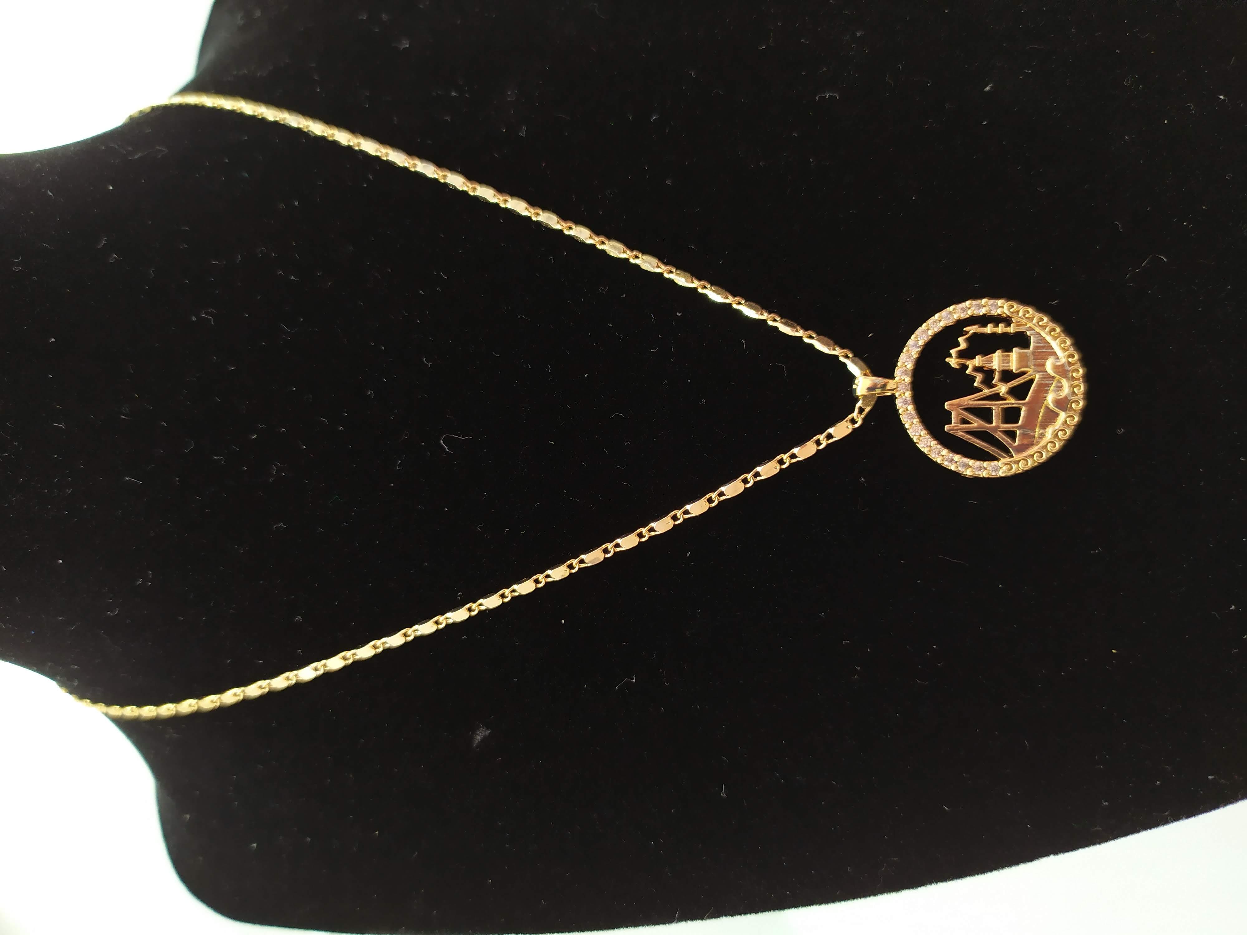 قلادة مطلية بالذهب مع الزركون الممتاز. لا يسبب الحساسية ، لا تغميق / Gold plated necklace with premium zircon. does not cause allergies, does not darken_24