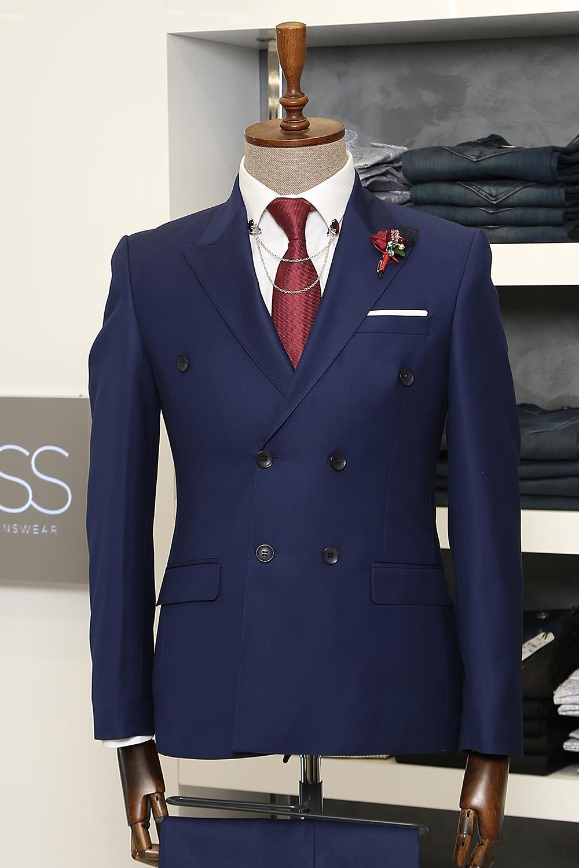 Navy blue plain 3 piece suit l clothing supplier