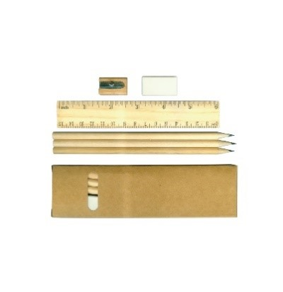 Pencil kit with rubber sharpner & scale
