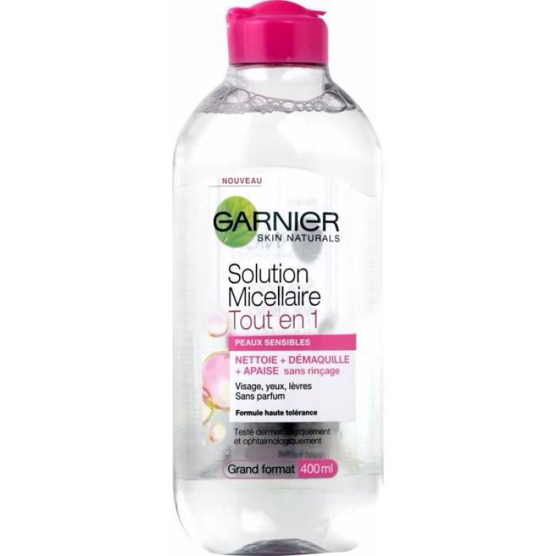 Garnier micellar water face eyes lips cleanser and daily make-up remover 400ml, pack of 1