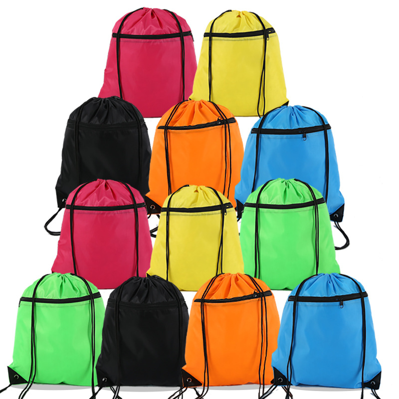 Mutilcolor 210d polyester drawstring gym backpack