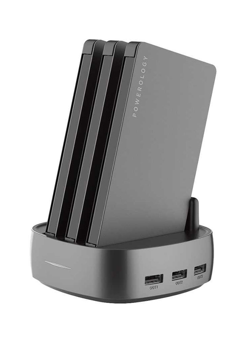 3-In-1 Power Station with Built-In Cable 8000mAh Black Grey