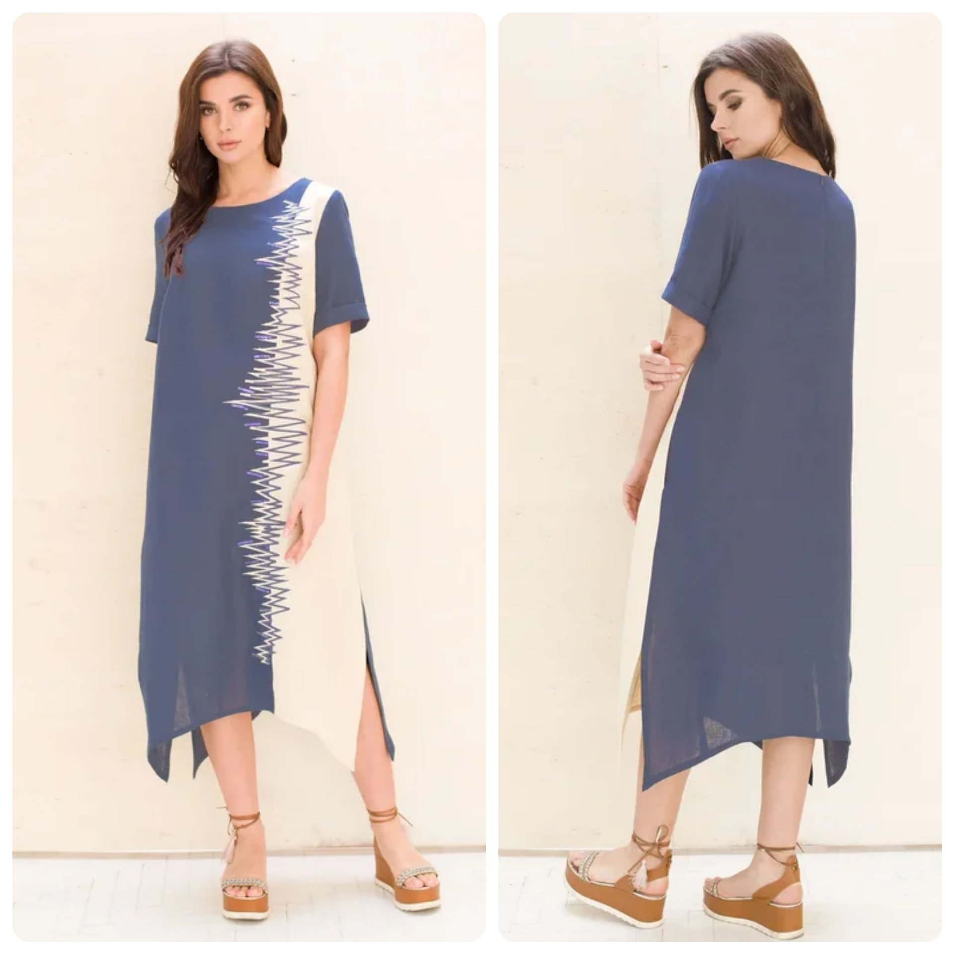Casual 100% LINEN everyday designer dress_2