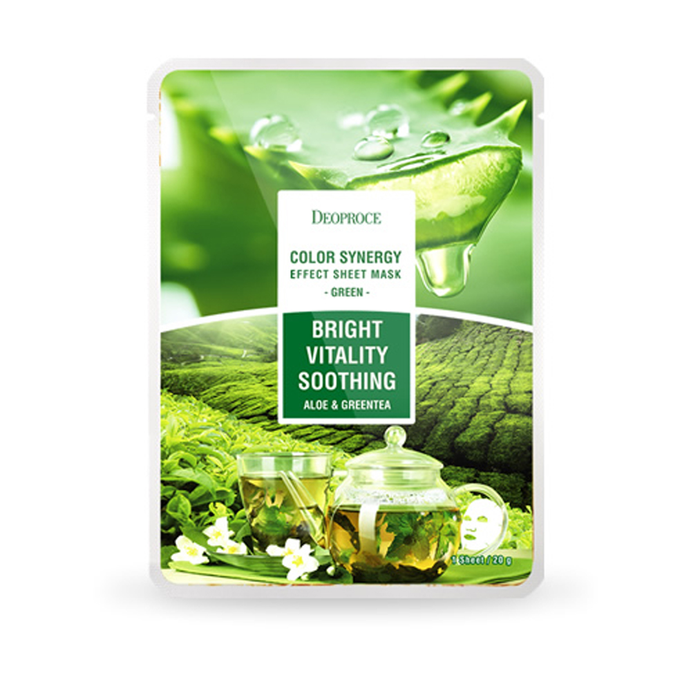 DEOPROCE Color Synergy Mask GREEN - Aloe Vera and Greentea_2
