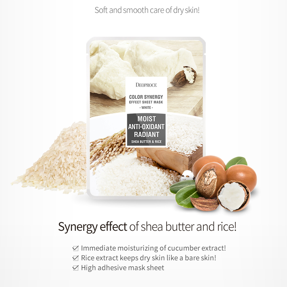 DEOPROCE Color Synergy Mask WHITE- Shea butter & Rice_3