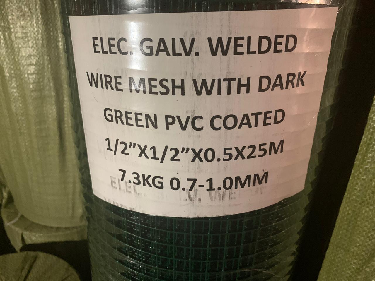 Roll welded wire mesh with dark green pvc coated 1/2″x1/2″x0.5x25m 7.3kg 0.7-1.0mm
