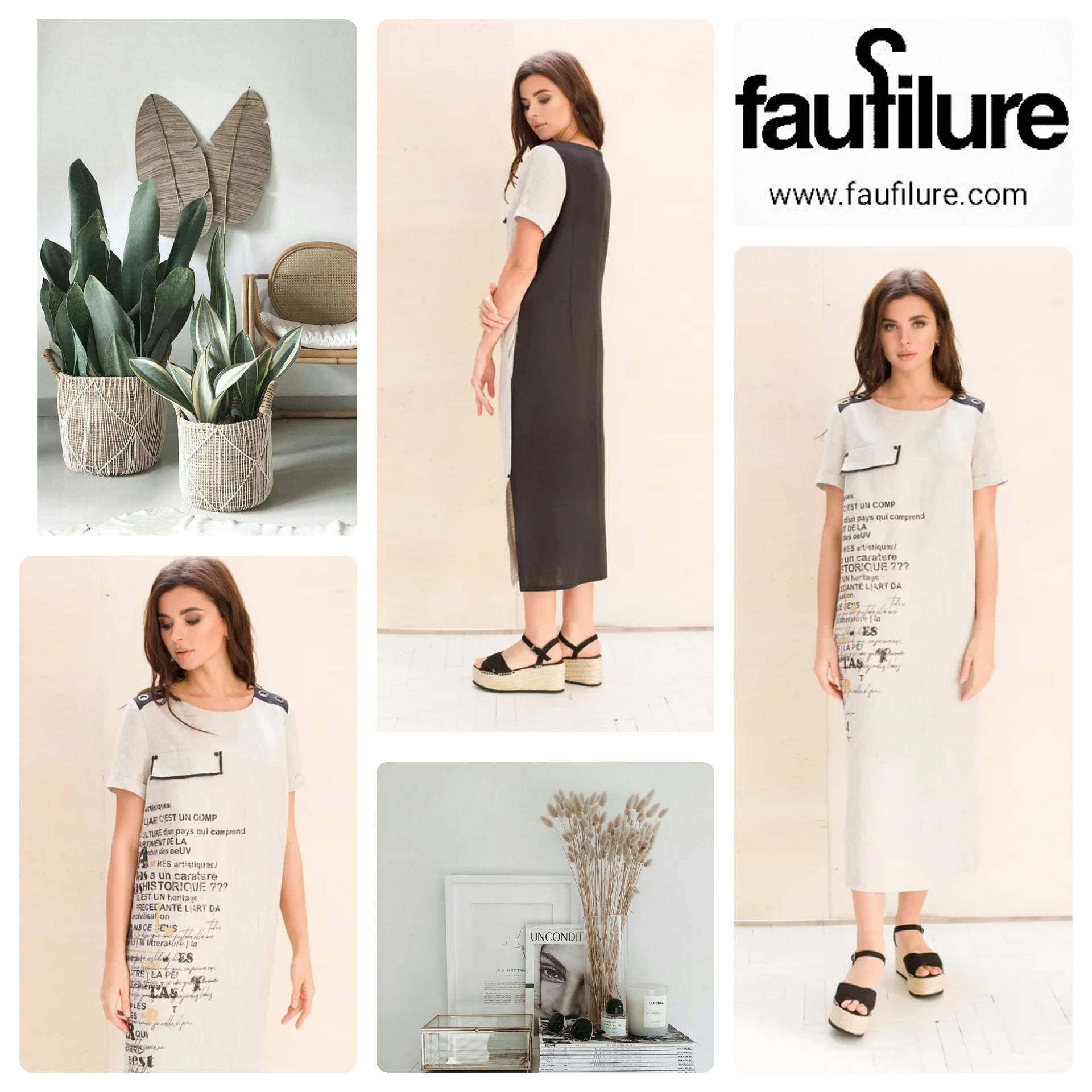 Eco-friendly 100% linen stylish dress