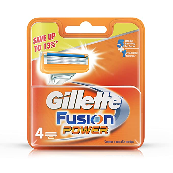 Wholesale gillette fusion power shaving razor blades - 4s pack