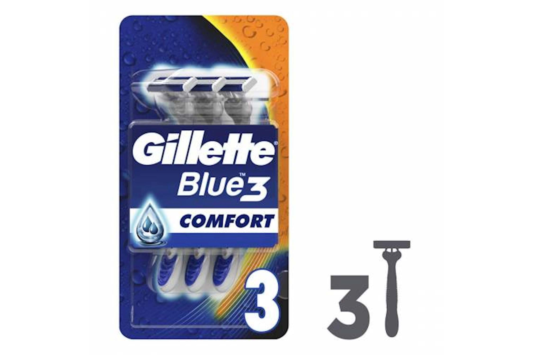 Wholesale Gillette Blue3 Disposable Shaving Razor with Comfort Gel - 3 Razors_2