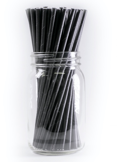Back to nature 2000 pieces 8 x 197 mm black wrapped paper straw biodegradable