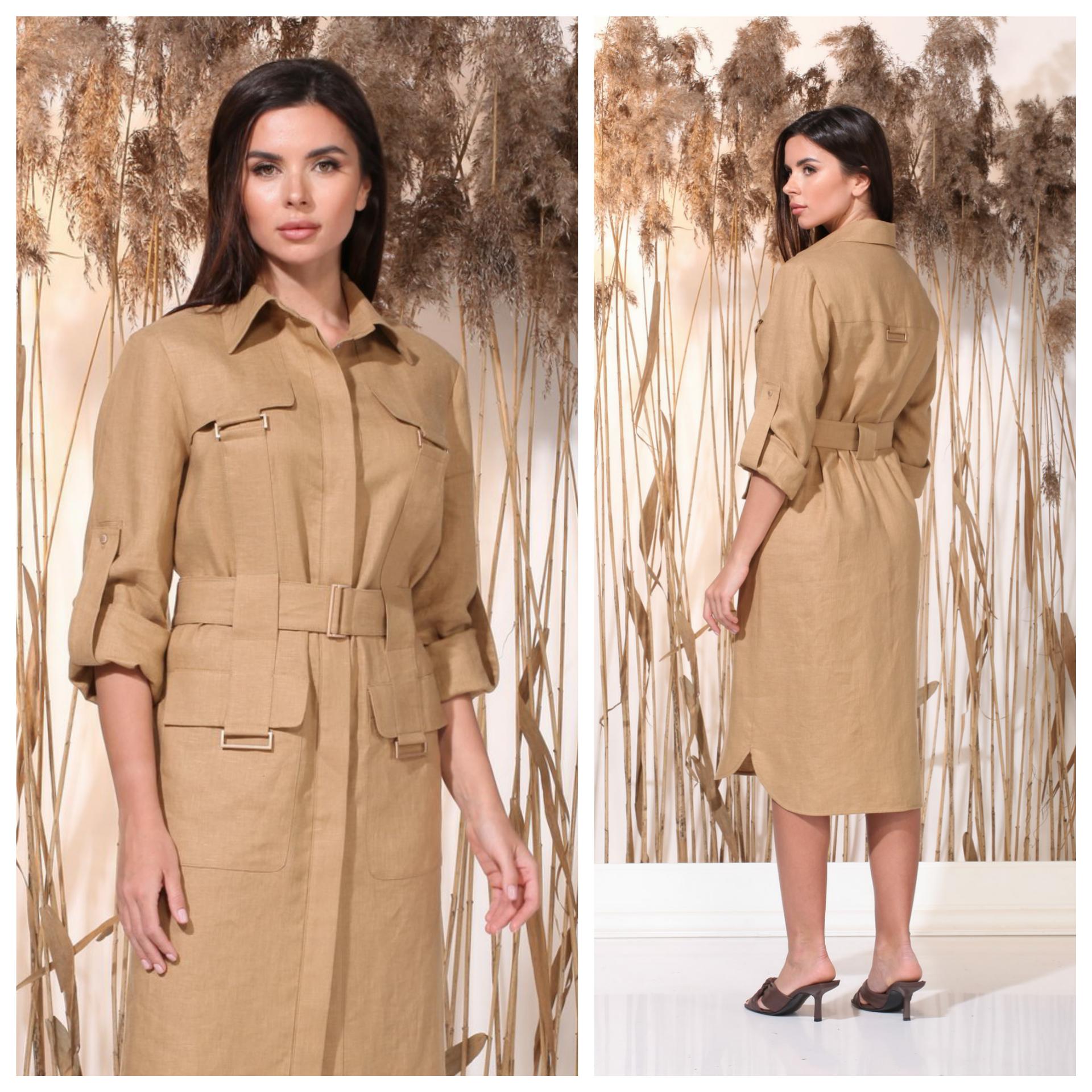 Eco-friendly 100% linen office dress wholesale_2