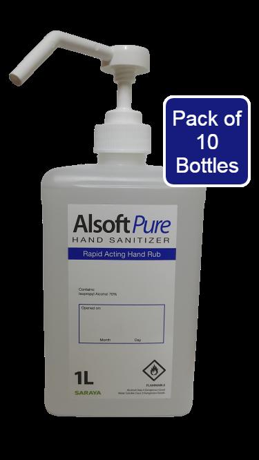 Saraya - alsoft pure hand sanitizer spray/refill 1l (pack of 10)