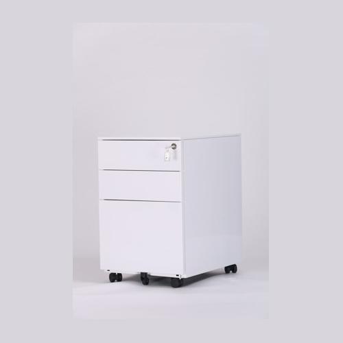 White color 3 drawer metal movable pedestal