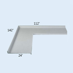 Sink top table(24 w/2 bs) l-type